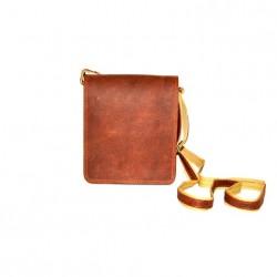 κωδ.0236 Ταχυδρομική Δερμάτινη Τσάντα με  διπλό χώρισμα